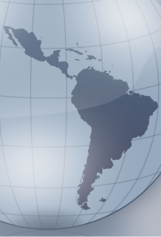 A computer generated map of South America